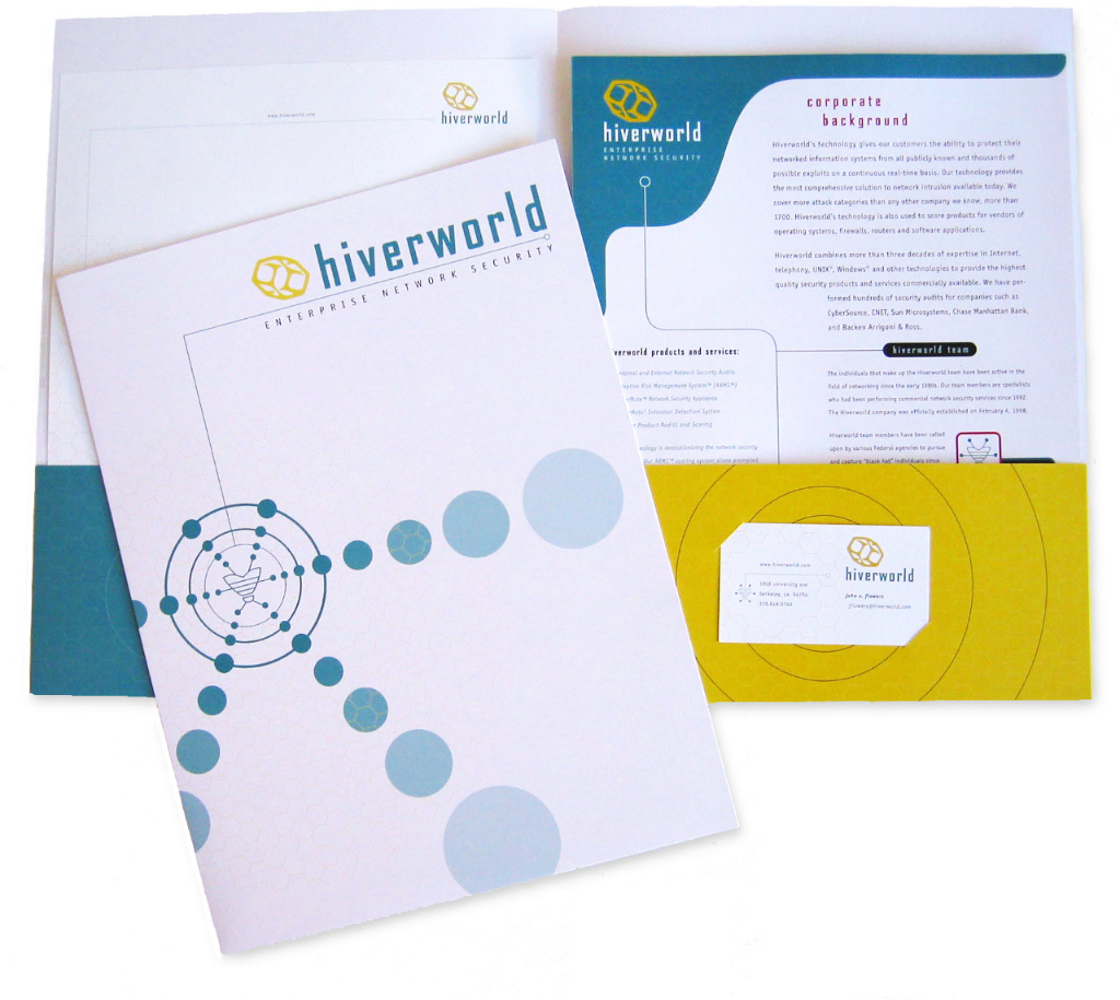 Hiverworld - Branding Print Design - Folder, Business Card, Letterhead, Sellsheets